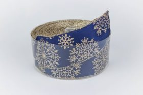 royal blue gold snowflakes ribbon online