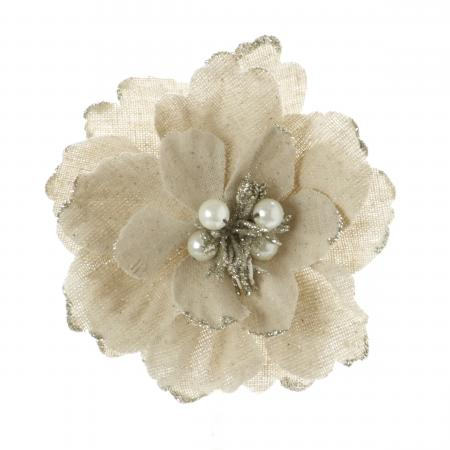 Linen Natural Flower clip